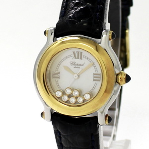 【中古】ショパール ハッピースポーツ レディース腕時計 コンビ 7P SS 750YG クォーツ シェル文字盤 27/8246-23