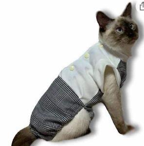 猫用術後服 グレンチェック (S)