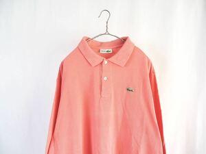LACOSTE FRANCE製 長袖ポロシャツ size:6 ピンク90s 80s ビンテージ フランス製 フレラコ 鹿子 プルオーバーシャツ