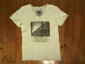 ★微難有☆イッカ★IKKA★Vネック プリント半袖Tシャツ コットンTシャツ L 薄黄緑