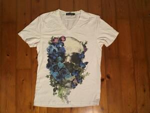 ★微難有☆ディアブロ★Diavlo★Vネック スカル半袖Tシャツ コットンTシャツ 48 白 ホワイト