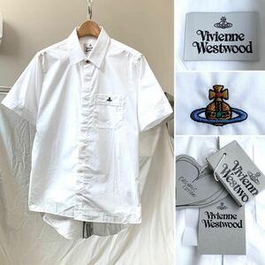新品 2021SS VIVIENNE WESTWOOD ヴィヴィアンウエストウッド ORB刺繍 比翼仕立て 半袖 コットン シャツ 48 メンズ
