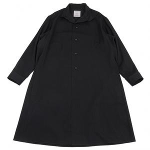 ヨウジヤマモト プールオムYohji Yamamoto POUR HOMME ウールギャバスタンドカラーシャツコート 黒4 【メンズ】