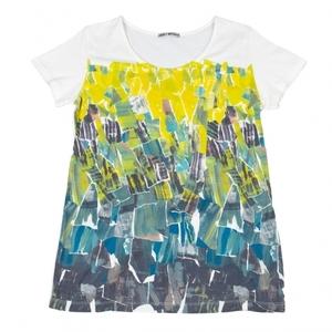 イッセイミヤケISSEY MIYAKE グラフィックプリントTシャツ 白黄緑他2 【レディース】