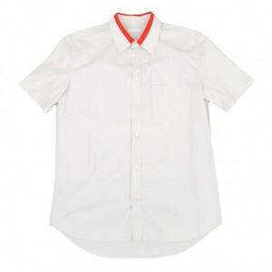 ヘルムートラングHELMUT LANG 襟ライン切替デザイン半袖シャツ ライトグレー赤48 【メンズ】