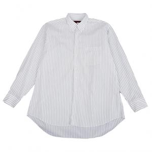 コムデギャルソン オムドゥCOMME des GARCONS HOMME DEUX コットンオルタネイトストライプタブカラーシャツ 白紺M 【メンズ】