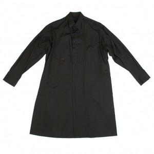ヨウジヤマモト プールオムYohji Yamamoto POUR HOMME 断ち切りコットンブロードロングシャツ 黒2 【メンズ】