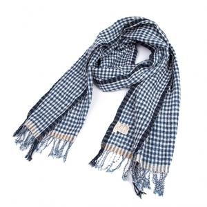 ヨーガンレールJURGEN LEHL チェック織りフリンジストール 青白180×40 【レディース】