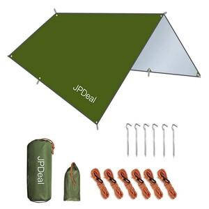 タープ 防水タープ キャンプ UVカット 軽量 アーミーグリーン 300*300