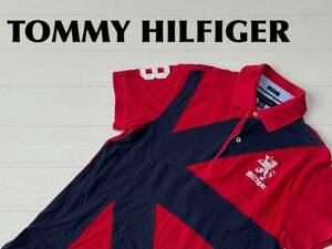 ☆送料無料☆ TOMMY HILFIGER トミーヒルフィガー 古着 半袖 ポロシャツ メンズ S レッド トップス 中古 即決