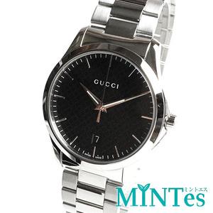 GUCCI グッチ Gタイムレス ディアマンテ メンズ 腕時計 クォーツ YA1264051/126.4 ブラック 黒 シルバー SS シンプル 男性 紳士 定番 人気