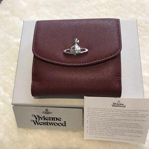 【新品未使用】ヴィヴィアンウエストウッド 二つ折り財布 ギフト梱包 Vivienne Westwood レザー ボルドー ショッパー 袋 リボン付き オーブ