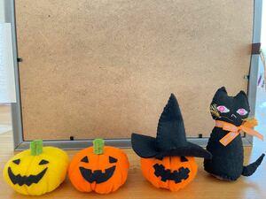 ハンドメイド☆フェルトで作ったハロウィンの置き物☆人形☆かぼちゃ カボチャ おばけ 黒猫 ネコ 飾り 置物