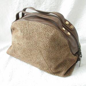 美品 BORBONESE ボルボネーゼ うずら柄 スエード レザー ハンドバッグ バッグ 鞄 ブラウン 茶