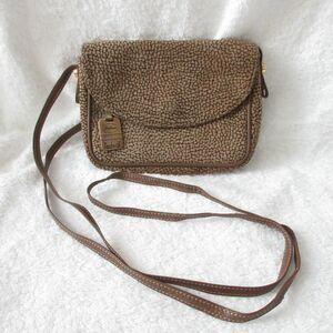 良品 BORBONESE ボルボネーゼ うずら柄 スエード ポシェット ショルダーバッグ バッグ 鞄 ブラウン 茶