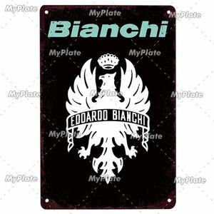 【新品、未使用】20×30cm ヴィンテージ金属看板 bianchi ビアンキ 自転車 ロードバイク クロスバイク MTB ピスト ガレージ 1454
