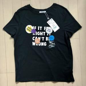 ワケあり!【新品】ZARA(ザラ)缶バッジ付きロゴTシャツ M