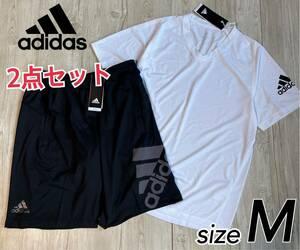 【Mサイズ】上下 新品 adidas アディダス Tシャツ ショートパンツ ハーフパンツ 速乾 トレーニング 上下セット メンズ