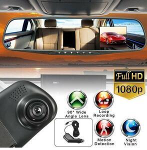 ドライブレコーダー ミラーモニター フルHD 1080P 車載カメラ 防犯カメラ 録画 高速起動 動体検知 駐車監視 日|a