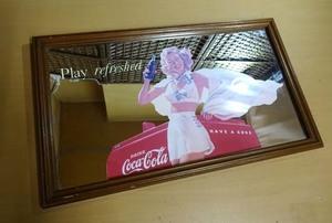 コカ・コーラ パブミラー 横49 縦29 厚み2㎝ 壁掛け 鏡 カガミ インテリア オブジェ Coca-Cola Play refreshed have a Coke 札幌市 白石区