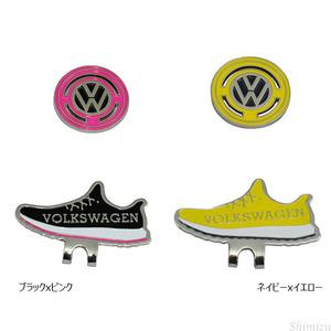 フォルクスワーゲン 靴型 ブラック/ピンク クリップマーカー ゴルフ マーカー アクセサリ 面白い 人気 かわいい プレゼント 景品