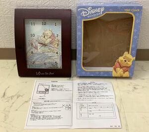 未使用保管品 ディズニー Disney 壁掛け時計 Wall Clock くまのプーさん Winnie The Pooh 掛け時計 木枠 横約20.5×縦約25.5cm