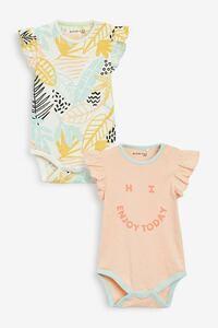 【2枚組】next Myleene Klass ベビー 半袖 ボディスーツ 65cm 女の子 ピンク オレンジ トロピカル スマイリー 70cm 花柄