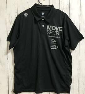 【DESCENTE MOVE SPORT】デサント ムーブスポーツ 半袖ポロシャツ トレーニングウェア ブラック メンズ XO 送料無料!