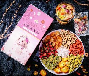 バラ八宝茶10個(バラ、菊花、竜眼、ナツメ、クコの実、レーズン、金 柑、氷砂糖)