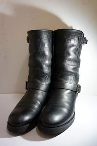 国内正規 LOUIS VUITTON ルイヴィトン ダミエ アンフィニ エンボス エンジニア ブーツ FD0143 レザー 黒 メンズ ダミエ 本物 806L▲