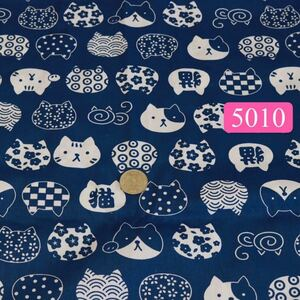 5010#猫ネコ布生地和柄オックス コットン100%綿ハギレハンドメイド