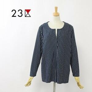 ◆23区 ストライプ柄 スリットネック 長袖 トップス カットソー 44