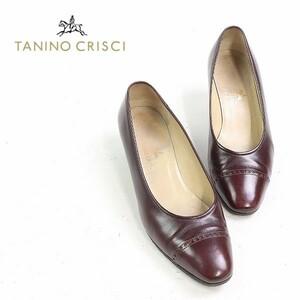 ◆TANINO CRISCI/タニノクリスチー レザー ストレートチップ ローヒール パンプス ブラウン 37 1/2