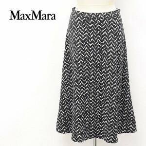 白タグ◆MaxMara/マックスマーラ 総柄 ウール フレア スカート ブラック×ホワイト 40