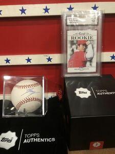 エンゼルス 大谷翔平 直筆 サインボール MLB 公式球 本物 topps ホログラム有り 専用ケース付き ルーキーカード 直筆サインボール