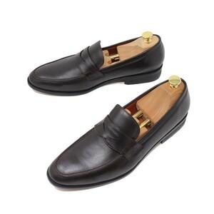 27cm メンズ ハンドメイド 本革 ローファー スリッポン カジュアル ビジネスシューズ マッケイ製法 紳士靴 ダークブラウン 茶 3006