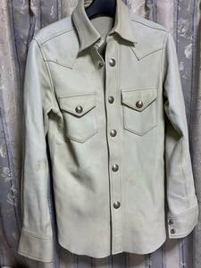 レッドムーンREDMOON 鹿革 ディアスキン レザーシャツ Sサイズ コンチョボタン USED現状