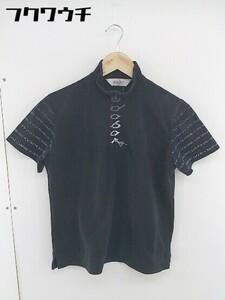 ◇ adabat アダバット ハーフジップ 半袖 ポロシャツ カットソー サイズⅠ ブラック レディース