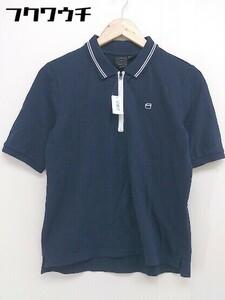 ◇ G-STAR RAW ジースターロゥ ハーフジップ 半袖 ポロシャツ サイズM ネイビー メンズ