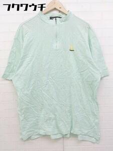 ◇ le coq sportif ルコックスポルティフ 大きいサイズ ハーフジップ 半袖 ポロシャツ サイズ3L グリーン系 メンズ