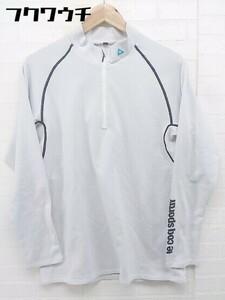 ◇ le coq sportif ルコック スポルティフ ハーフジップ ゴルフ 長袖 Tシャツ カットソー サイズLL ホワイト系 メンズ
