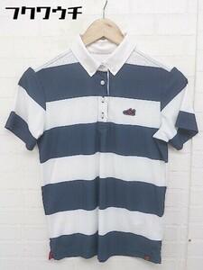 ◇ NEW BALANCE ニューバランス GOLF ボーダー ロゴ 半袖 ポロシャツ サイズ1 ネイビー ホワイト レディース