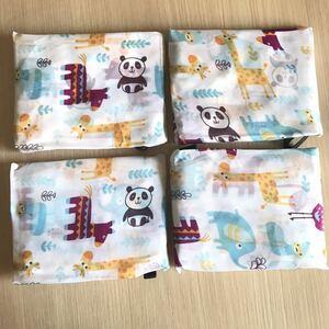 エコバッグ 折り畳み 大容量 可愛い ショッピングバッグ 買い物袋 パンダ柄 4枚セット