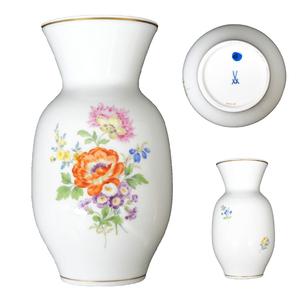 マイセン Meissen 広口花瓶 フラワーベース 五つ花 (裏に小花柄二つ) 花文 金彩 高さ約19cm 口径約8.8cm t-129