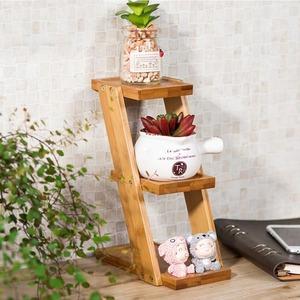 3段☆プランタースタンド♪花 ガーデニング 観葉植物 多肉植物 植木鉢 花瓶 フラワーポット 台 ホルダー 木材 ウッド インテリア|a