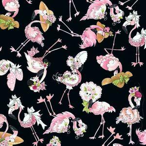 90*USAコットン*ロラライハリス*Flamingo Toss黒ハンドメイドソーイング輸入生地布地