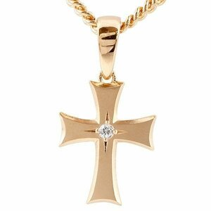 喜平用 メンズ ダイヤモンド ネックレス クロス ピンクゴールドk10 ペンダント 十字架 つや消し 10金 ダイヤ 一粒 男性用 キヘイチェーン