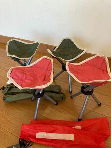 アクティブ トライアングルチェア 折りたたみ チェア イス 椅子 イス 4個セット アウトドア 新品未使用 家族で 収納バッグ付き