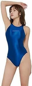 AMORESY 最新作 印字版 競泳水着 ハイレグレオタード コスプレ ブルー Lサイズ