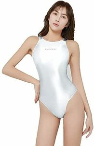 AMORESY 最新作 印字版 競泳水着 ハイレグレオタード コスプレ ホワイト Lサイズ